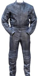 2pc Motorcycle Riding Racing Track Suit w/ padding All Leather Drag Suit Black -Small