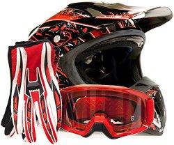 Adult Offroad Helmet Goggles Gloves Gear Combo DOT Motocross ATV Dirt Bike MX Black Red Splatter ( Small )