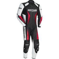 Cortech Latigo 2.0 Men's 1-Piece Leather Street Racing Motorcycle Race Suit – Black/Red / Large