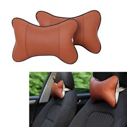 E Support 2 PCS Danny leather Bone Shaped Car Headrest Neck Pillow Cushion Safety Pillow Newest