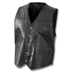 Giovanni Navarre® Mosaic Leather Vest Black, BLACK, M