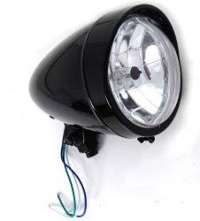 Gloss Black Headlight with Visor Light 5.5″ Halogen fits Honda Yamaha Suzuki Kawasaki Motorcycle