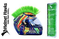 Helmet Hawks ® Motorcycle Helmet Mohawk w/ Sticky Velcro Adhesive – Fluorescent Lime Green