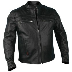 Hot Leathers Leather Men's Jacket with Double Piping (Black, X-Large)