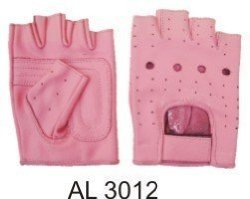 Ladies Pink Leather Fingerless Gloves W/Padded Palm AL-3012-2XL