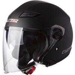 LS2 Helmets 569 Track Solid Open Face Motorcycle Helmet with Sunshield (Matte Black, Medium)