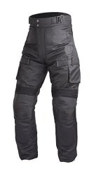 Motorcycle Textile Waterproof Riding Pants Black with Removable CE Armor PT2 (XS)