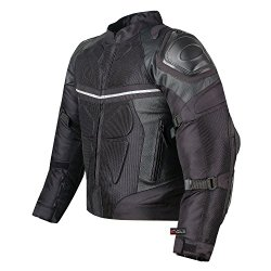 PRO LEATHER & MESH MOTORCYCLE WATERPROOF JACKET BLACK WITH EXTERNAL ARMOR L