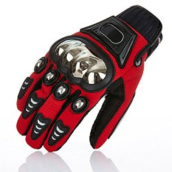 S-Raw Metal Protective Motorcycle Gloves Full Finger Gloves Summer Motorbike Gloves, Red X-Large