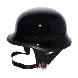 TCMT Dot Adult German Style Black Leather Half Helmet Motorcycle Chopper Cruiser Biker Helmet (XL, black2)