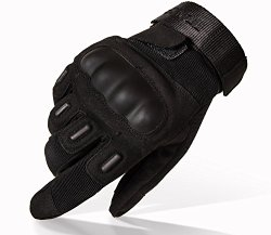 TitanOPS Full Finger Hard Knuckle Motorcycle Military Tactical Combat Training Army Shooting Outdoor Gloves (Black, L)