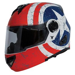 TORC T27B Full Face Modular Helmet with Blinc Bluetooth (Rebel Star, Small)