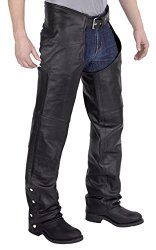 Viking Cycle Leather Chaps – Plain Motorcycle Leather Chaps For Men (M)