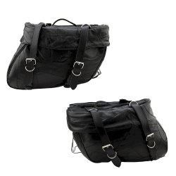 2pc Set of Leather Motorcycle Saddle Bags