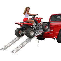 90″ Dual Runner Aluminum Solid Surface Arched Folding ATV Ramps with a 1,500 lb. Capacity