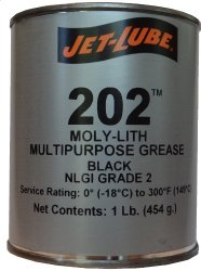 Jet-Lube 202 MOLY-LITH Multi-Purpose Grease with MoS2, 1 lbs Can, Black