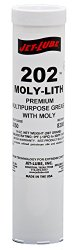 Jet-Lube 33050 #202 Moly-Lith Grease, 0 to 300 degrees F, 2 NLGI Number, 14 oz Cartridge, Black
