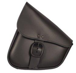 Willie & Max Black Leather Swingarm Bag for Harley-Davidson Softails