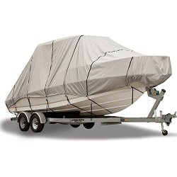 Budge 600 Denier Boat Cover fits Hard Top / T-Top Boats B-621-X6 (20′ to 22′ Long, Gray)