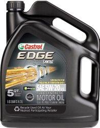 Castrol 03083 EDGE 5W-20 Synthetic Motor Oil – 5 Quart