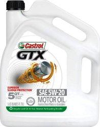 Castrol 03107 GTX 5W-20 Conventional Motor Oil – 5 Quart