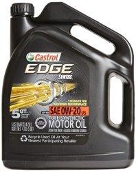Castrol 03124 EDGE 0W-20 Synthetic Motor Oil – 5 Quart