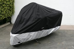 Deluxe all season Motorcycle cover (XXL) Black. Fits up to 108″ length Large cruiser, Tourer, Chopper.