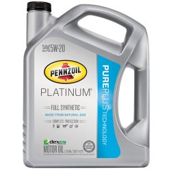 Pennzoil (550038332-3PK) Platinum 5W-20 Full Synthetic Motor Oil GF-5  – 5 Quart Jug, (Pack of 3)