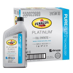 Pennzoil 550042833-6PK Platinum Euro L Full Synthetic Silver 5W-30 Motor Oil Lubricant – 1 quart (Pack of 6)