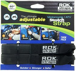 ROK Straps ROK-10025 Black 18″ – 60″ Motorcycle/ATV Adjustable Stretch Strap
