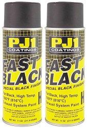 PJ1 16-HIT-2PK Flat Black Hi-Temp Spray Paint, 22 oz, 2 Pack
