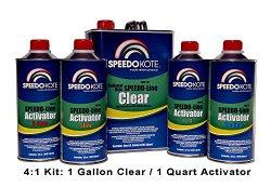 SpeedoKote SMR-130/75-K-M – Automotive Clear Coat Fast Dry 2K Urethane, 4:1 Gallon Clearcoat Kit w/Medium Act.