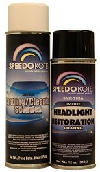 SpeedoKote SMR-700A/705 – Professional Headlight Restoration Aerosol Kit, UV Cure coating, SMR-700A/705, Enough to restore 12 car's headlights to new condition