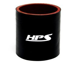 HPS HTSC-100-BLK Silicone High Temperature 4-Ply Reinforced Straight Coupler Hose, 100 PSI Maximum Pressure, 3″ Length, 1″ ID, Black