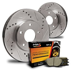 Max KT001231 Front Premium Slotted & Drilled Rotors and Ceramic Pads Combo Brake Kit