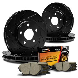 Max KT001983 [ELITE SERIES] Front + Rear Performance Slotted & Cross Drilled Rotors and Ceramic Pads Combo Brake Kit