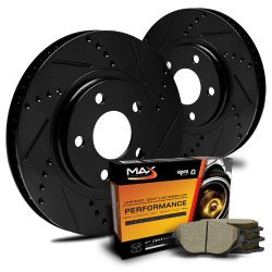 Max KT014881 [ELITE SERIES] Front Performance Slotted & Cross Drilled Rotors and Ceramic Pads Combo Brake Kit