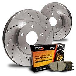 Max KT072432 Rear Premium Slotted & Drilled Rotors and Ceramic Pads Combo Brake Kit