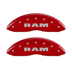MGP Caliper Covers 55001SRAMRD 'RAM' Engraved Caliper Cover with Red Powder Coat Finish and Silver Characters, (Set of 4)