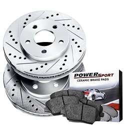 Power Sport Cross Drilled Slotted Brake Rotors and Ceramic Brake Pads Kit -80895 [FRONTS]