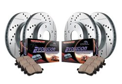 Power Stop K2010 Front/Rear Ceramic Brake Pad and Cross Drilled/Slotted Combo Rotor One-Click Brake Kit