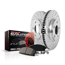 Power Stop K2066 Front Ceramic Brake Pad and Cross Drilled/Slotted Combo Rotor One-Click Brake Kit