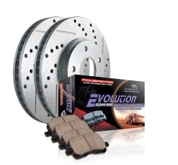 Power Stop K258 Front Ceramic Brake Pad and Cross Drilled/Slotted Combo Rotor One-Click Brake Kit
