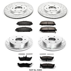 Power Stop K2805 Front/Rear Ceramic Brake Pad and Cross Drilled/Slotted Combo Rotor One-Click Brake Kit