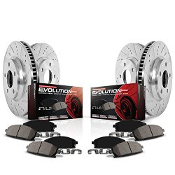 Power Stop K2813 Front/Rear Ceramic Brake Pad and Cross Drilled/Slotted Combo Rotor One-Click Brake Kit