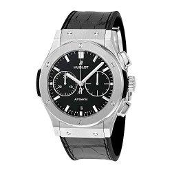 Hublot Classic Fusion Automatic Chronograph Black Dial Black Leather Mens Watch 521.NX.1171.LR