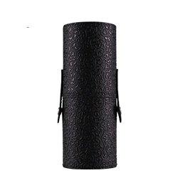 Tenworld Women Girl PU Leather Cosmetic Case Portable Storage Makeup Bags Organizer Brush Holder Cup (Black)
