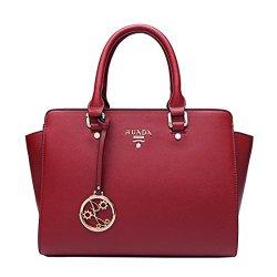 Shengdilu Women's Genuine Leather Purse Shoulder Bag Crossbody Fit Ipad Handbag Solid Satchel Casual Red