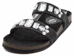 Charles Albert Women's Double Strap Jeweled Slide Sandal