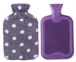 Premium Classic Rubber Hot Water Bottle with Soft Fleece Cover (2 Liters, Purple / Gray Polka Dot)
